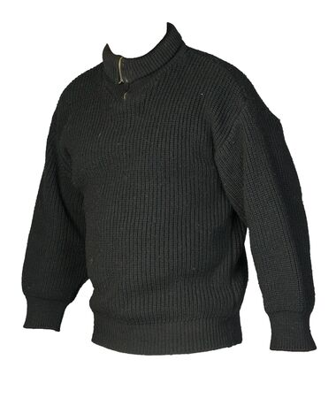 knitted black sweater with a zipper isolated on a white background. men's sweater under the neck front side view. Casual style
