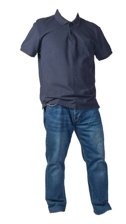 men's dark  blue t-shirt and blue jeans isolated on white background.casual clothing Stock Photo