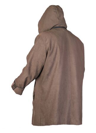 female brown coat with a hood Isolated on a white background. autumn women's coat not wet from the rain Banque d'images
