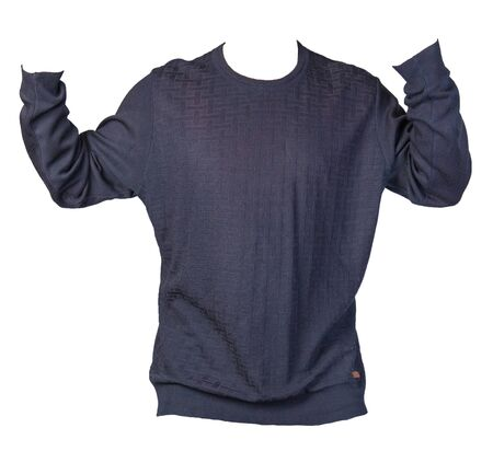 knitted blue  sweater with a zipper isolated on a white background. men's sweater under the neck front view. Casual style