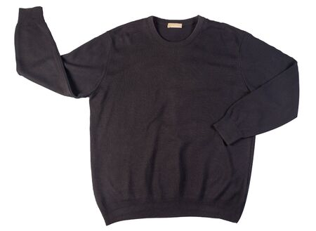 knitted black sweater with a zipper isolated on a white background. men's sweater under the neck top view. Casual style