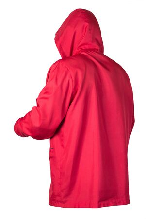 female red coat with a hood Isolated on a white background. autumn women's coat not wet from the rain Banque d'images