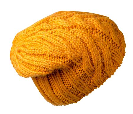Women's yellow hat . knitted hat isolated on white background. Stock Photo