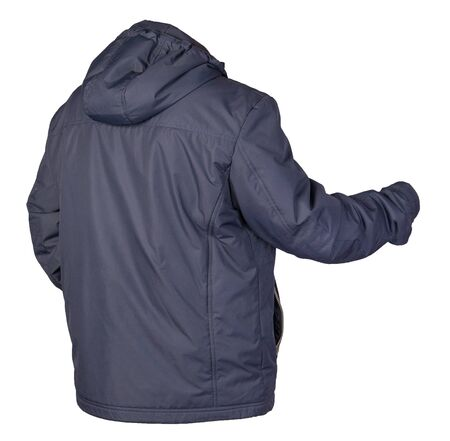 Men's jacket in a hood isolated on a white background. Windbreaker blue jacket . Casual style Stock Photo