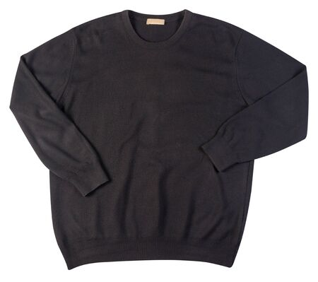 knitted black sweater with a zipper isolated on a white background. men's sweater under the neck top view . Casual style