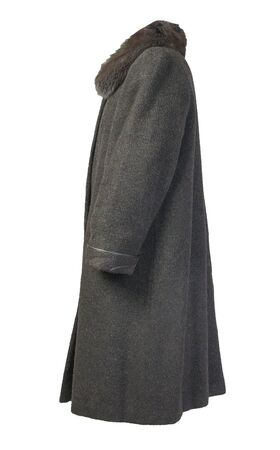 Female woolen dark gray coat with a hood Isolated on a white background. women's coat cut a trapeze