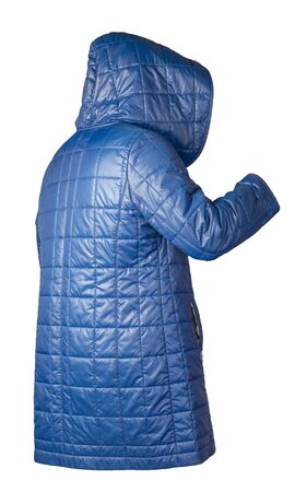 female blue coat with a hood Isolated on a white background. autumn womens coat not wet from the rain
