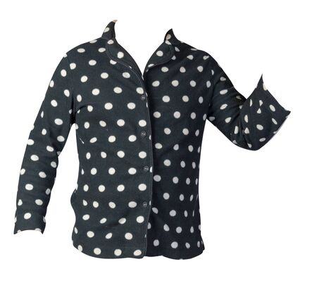 Female knitted black and white polka dots  sweater isolated on a white background. warm winter women sweater 写真素材