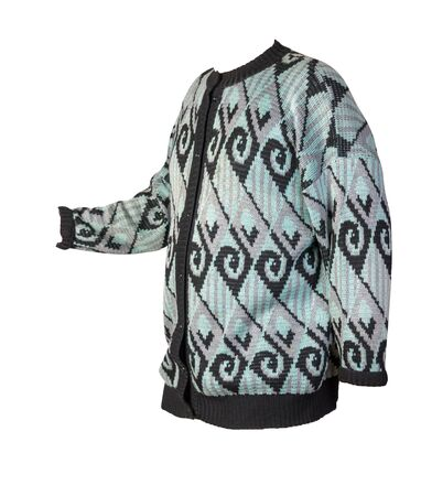 Female knitted blue black sweater isolated on a white background. warm winter women sweater