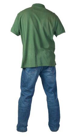 mens dark green t-shirt and blue jeans isolated on white background.casual clothing 写真素材