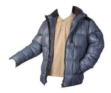 mens hakki  t-shirt and blue jacket isolated on white background.casual clothing