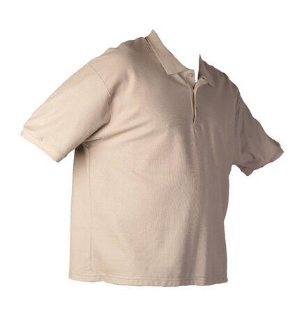 short sleeved hakki t-shirt isolated on white background cotton shirt . Casual style