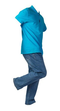 mens blue t-shirt and blue jeans isolated on white background.casual clothing