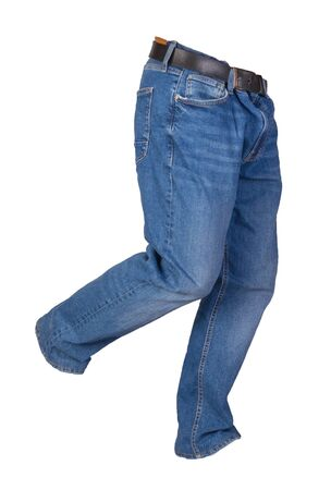 Blue jeans isolated on white background.Beautiful casual jeans . 写真素材