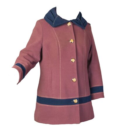 Female woolen pink coat with a blue hood Isolated on a white background. womens coat cut a trapeze