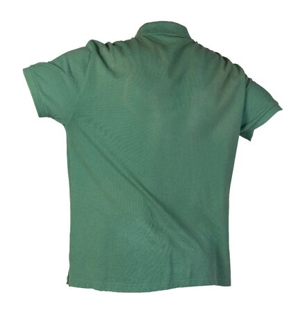 short sleeved green t-shirt isolated on white background cotton shirt . Casual style
