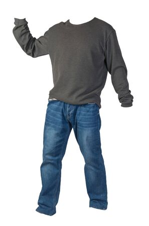 mens gray sweater and blue jeans isolated on white background.casual clothing Фото со стока