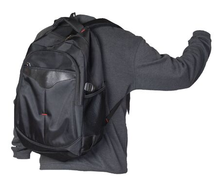 black backpack dressed in a knitted gray sweater isolated on a white background. backpack and male sweater view from the back