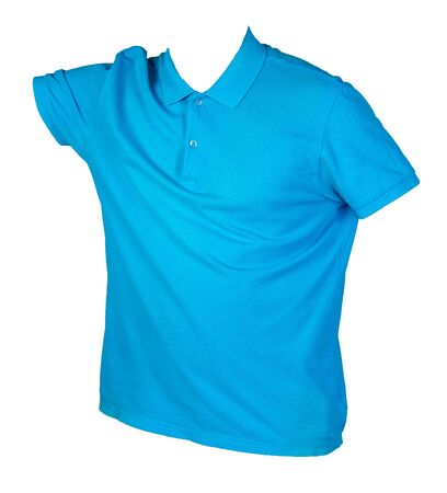 short sleeved blue t-shirt isolated on white background cotton shirt . Casual style