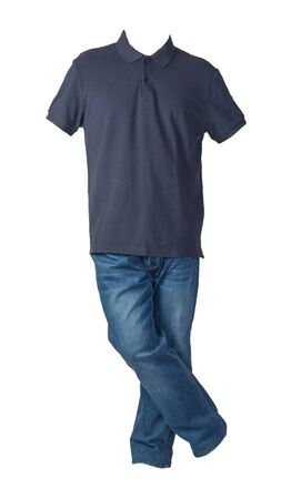 mens dark  blue t-shirt and blue jeans isolated on white background.casual clothing 写真素材