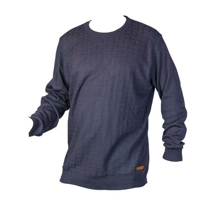 knitted blue sweater with a zipper isolated on a white background. men's sweater under the neck . Casual style