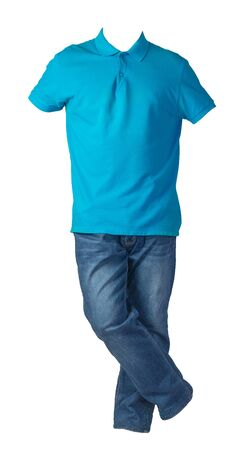men's blue t-shirt and blue jeans isolated on white background.casual clothing