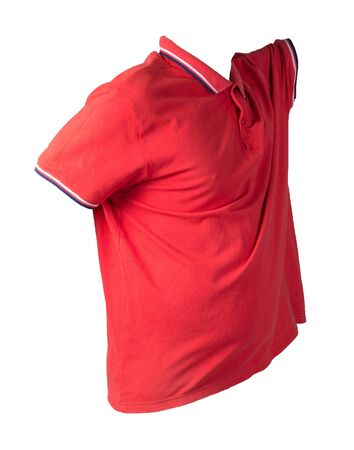 short red sleeved t-shirt isolated on white background cotton shirt . Casual style