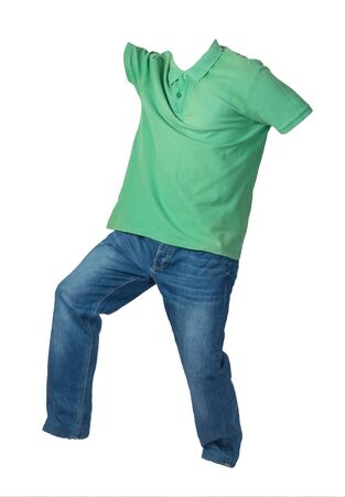 men's  green t-shirt and blue jeans isolated on white background.casual clothing Stock Photo