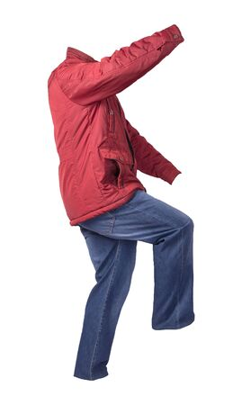red men's jacket and blue jeans isolated on white background.casual clothing