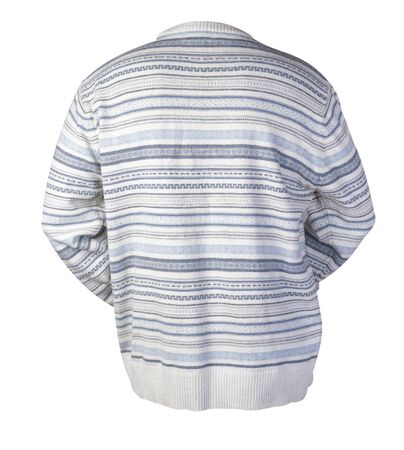 knitted white gray blue sweater with a zipper isolated on a white background. men's sweater under the neck . Casual style