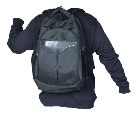 black backpack dressed in a knitted blue  sweater isolated on a white background. backpack and male sweater view from the back