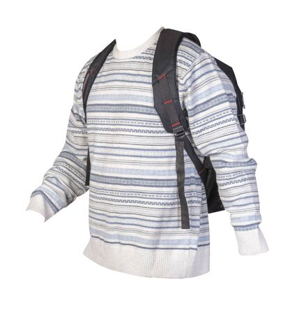 black backpack dressed in a knitted white blue gray color sweater isolated on a white background. backpack and male sweater side view