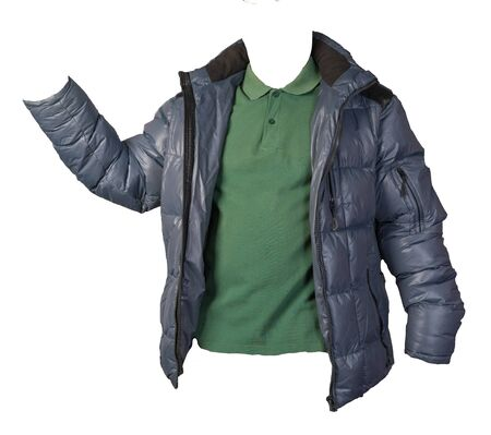 men's dark green t-shirt and blue jacket isolated on white background.casual clothing 免版税图像