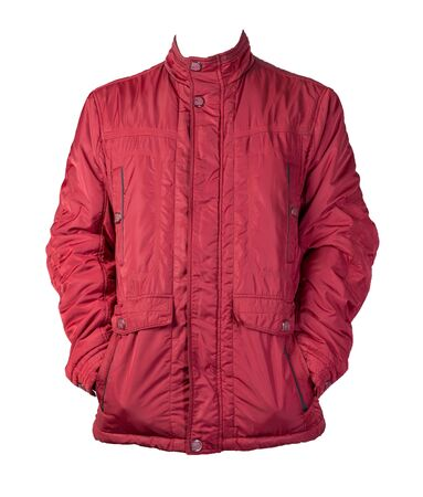 Men's red jacket in a hood isolated on a white background. Windbreaker jacket. Casual style