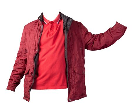 men's red t-shirt and red jacket isolated on white background.casual clothing