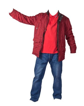 red jacket,orange shirt and blue jeans isolated on white background. casual fashion clothes 免版税图像