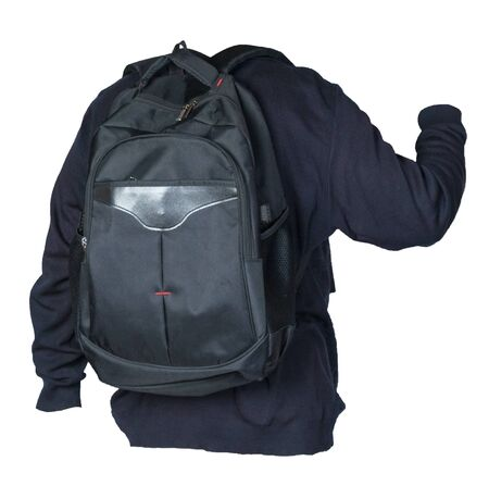 black backpack dressed in a knitted blue sweater isolated on a white background. backpack and male sweater view from the back Stockfoto