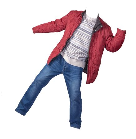 red jacket, white blue gray sweater and blue jeans isolated on white background. casual fashion clothes