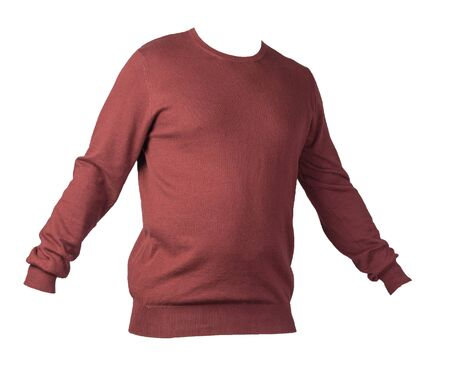 knitted dark red sweater isolated on a white background. men's sweater under the neck . Casual style