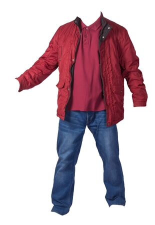 red jacket, dark red shirt and blue jeans isolated on white background. casual fashion clothes