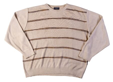 knitted hakki brown beige color sweater isolated on a white background. men's sweater under the neck top view . Casual style