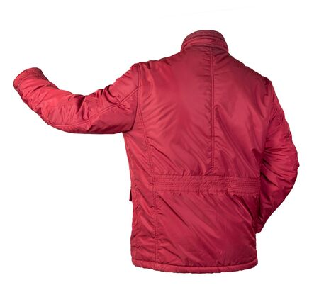 Men's red jacket isolated on a white background. Windbreaker jacket. Casual style