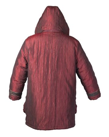 female dark red coat with a hood Isolated on a white background. autumn womens coat not wet from the rain