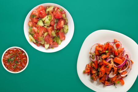Vegetarian food. tomatoes, onions, dill on a white plate on a green background. healthy food.flat lay 스톡 콘텐츠