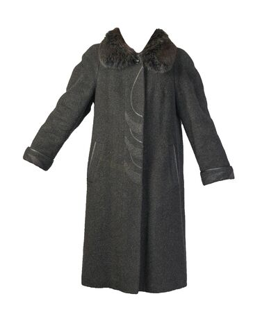 Female woolen dark gray coat with a hood isolated on a white background. womens coat cut a trapeze
