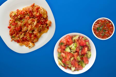 Stewed tomatoes with onions in a white plate on a blue background. stewed tomatoes with onion top view. vegetarian food.