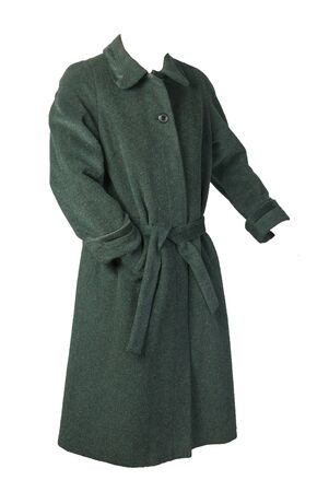 Female woolen dark green coat with a hood isolated on a white background. womens coat cut a trapeze