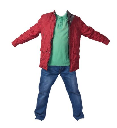 red jacket, green shirt and blue jeans isolated on white background. casual fashion clothes