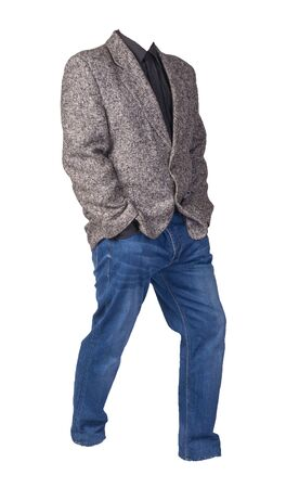 men gray jacket with black shirt and blue jeans Isolated on a white background. casual style