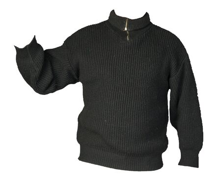 knitted black sweater with a zipper isolated on a white background. men's sweater under the neck . Casual style
